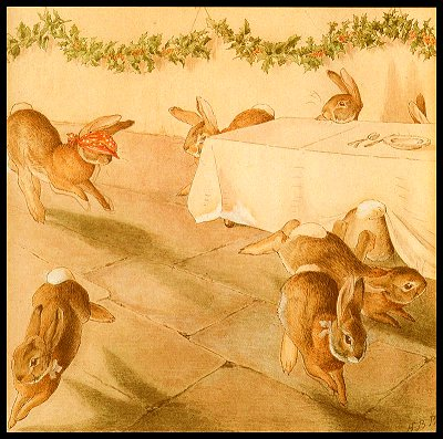 The rabbits play 'Blind Man's Bluff'. Click for bigger picture.